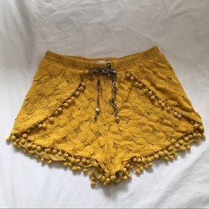 Yellow Shorts with Pompon Fringe